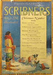 Scribner's cover, December 1920, man on skis.