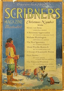Scribner's cover, December 1920, man on skis.