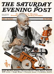 J.C. Leyendecker Saturday Evening Post December 25, 1920 cover, old man making toys.
