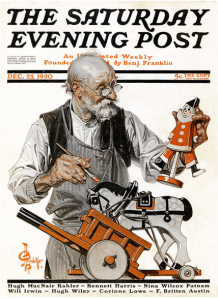 J.C. Leyendecker Saturday Evening Post December 25, 1920 cover, old man making toys.