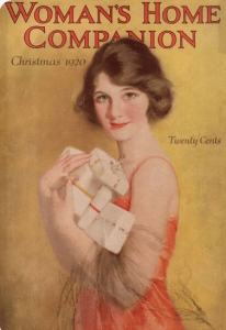 Woman's Home Companion December 1920 cover, woman with packages.