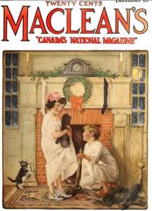 Maclean's cover, December 1920, children waiting for Santa.