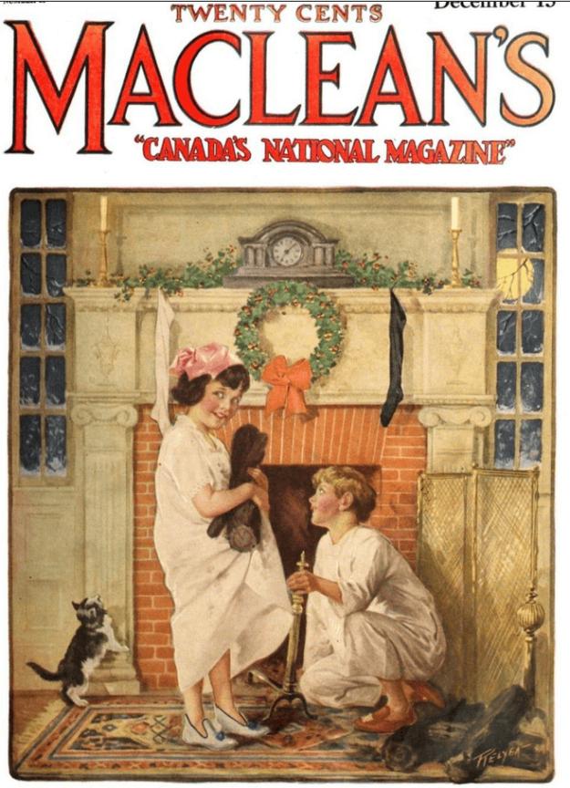 Maclean's cover, December 1920, children waiting for Santa.