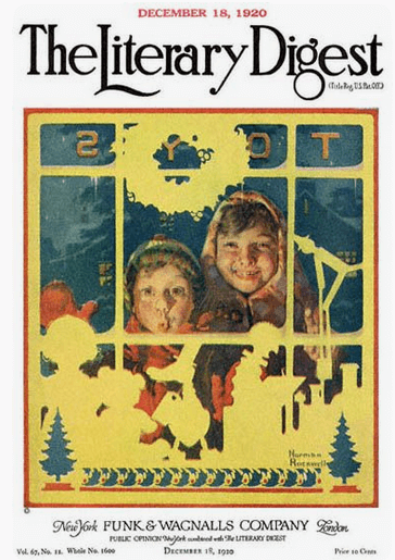 Literary Digest December 1920 Rockwell cover, children looking into toy story window.