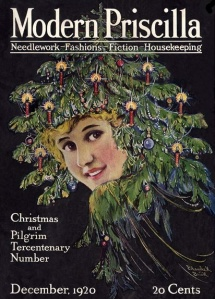 Blanche K. Brink Modern Priscilla cover, December 1920, woman's face in Christmas tree.