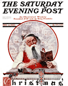 Norman Rockwell December 16, 1920 Saturday Evening Post cover, Santa.