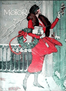 Motor magazine cover, December 1920, woman at door with gifts.
