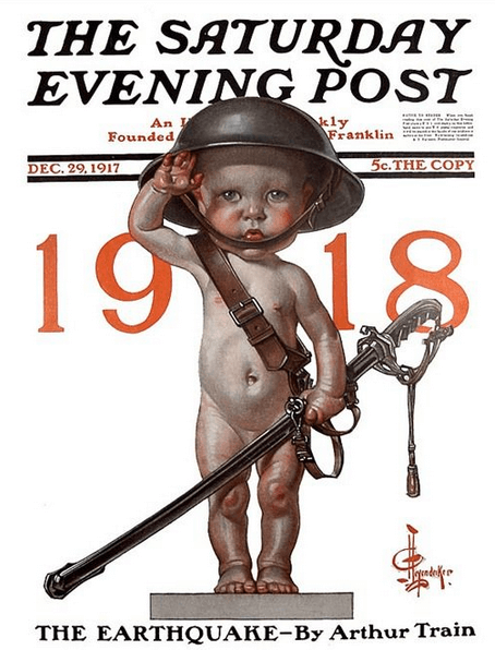 J.C. Leyendecker New Year's cover 1918, baby soldier.