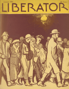 Liberator January 1921 cover, Cornelia Barnes, people walking down street.