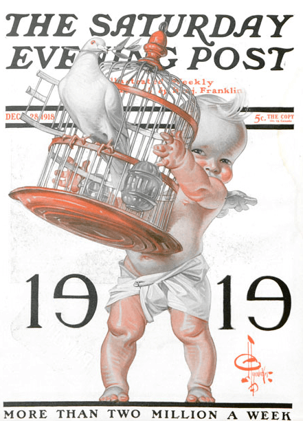 J.C. Leyendecker New Years 1919 cover, baby letting doves out of cage.