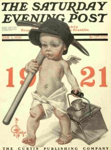 J.C. Leyendecker 1921 New Year's cover, baby coal miner.