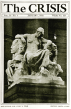 Crisis cover January 1921, statue of man with Sphinx.