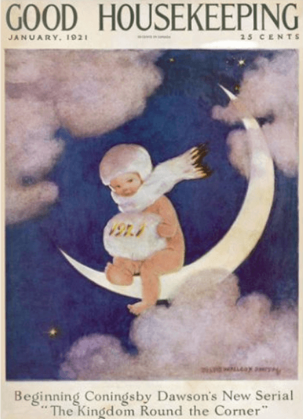 Good Housekeeping Jessie Willcox Smith cover, January 1921, child on moon.