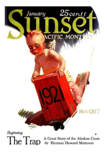 Robert Kearfott Sunset cover, New Years 1921, baby.
