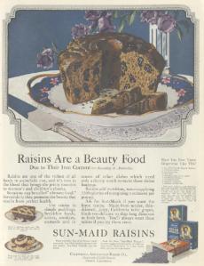 Sun-Maid raisins ad, Ladies' Home Journal, January 1921, raisins are a beauty food.