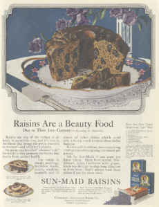 Sun-Maid raisins ad, Ladies' Home Journal, January 1921, raisins are a beauty food.