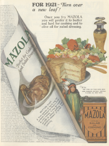 Mazola oil ad, Ladies' Home Journal, January 1921, curling page.
