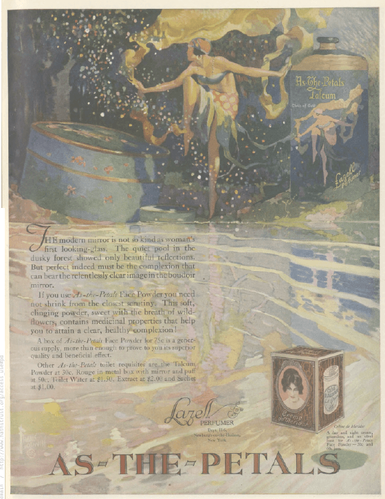 All-the-Petals perfume ad, Ladies' Home Journal, January 1921, dancing fairy.
