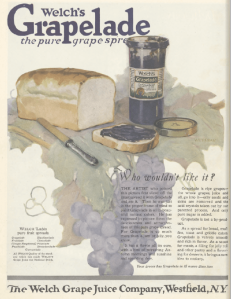 Welch Grapelade ad, Ladies' Home Journal, January 1921, grape jam on white bread.