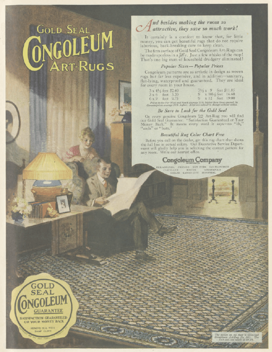 Congoleum linoleum rug ad, Ladies' Home Journal, January 1921.