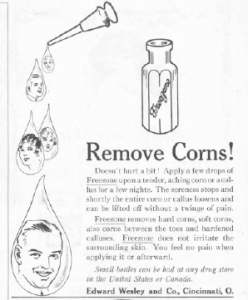 Corn remover ad, Ladies' Home Journal, January 1921, faces in drops.