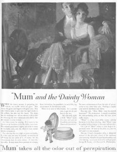 Mum deodorant ad, Ladies' Home Journal, January 1921.
