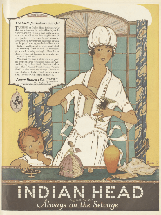 Indian Head cloth ad, woman with child, Ladies' Home Journal, January 1921.