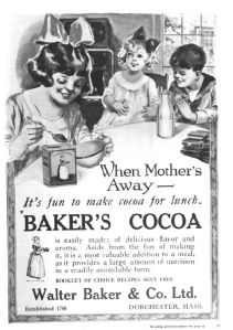 Baker's cocoa ad, Good Housekeeping, January 1921, children making cocoa.