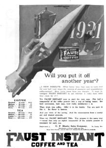 Faust instant coffee and tea ad, Good Housekeeping, January 1921, curling page.
