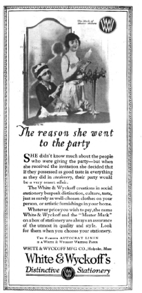 White and Whyckkoff's stationeary ad, Good Housekeeping, January 1921.