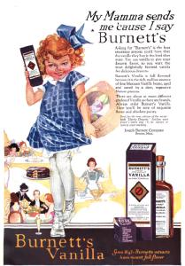 Burnett's vanilla ad, Good Housekeeping, January 1921, girl holding vanilla.