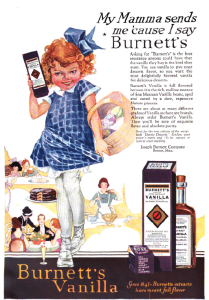 Burnett's vanilla ad, Good Housekeeping, January 1921, girl holding vanilla.