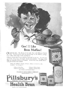 Pillsbury's ad, Good Housekeeping, January 1921, gee I like bran muffins.