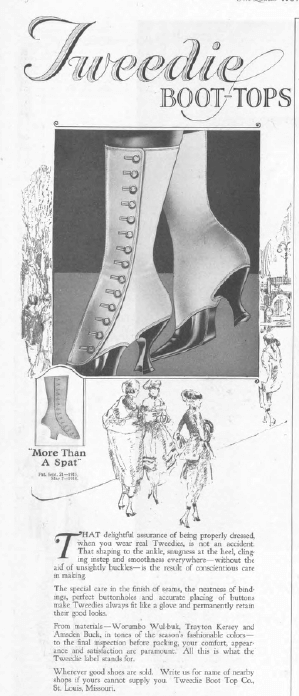 Tweedie boots ad, Ladies' Home Journal, January 1921, woman's boot.