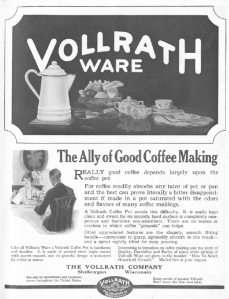 Vollrathware ad, Good Housekeeping, January 1921, white crockery.