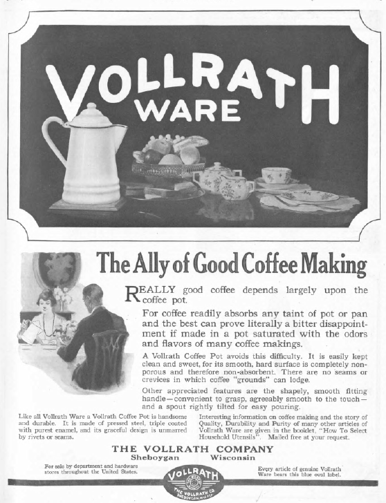 Vollrathware ad, Good Housekeeping, January 1921, white crockery.