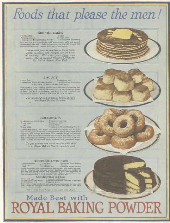 Royal Baking Powder ad, Ladies' Home Journal, January 1921, cake and pastries.