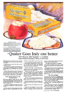 Good Housekeeping Quaker macaroni ad, January 1921.