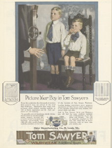 Tom Sawyer ad, Ladies Home Journal, January 1921, boys wearing neckties.