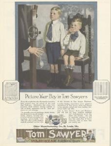 Tom Sawyer ad, Ladies Home Journal, January 1921, boys wearing neckties.
