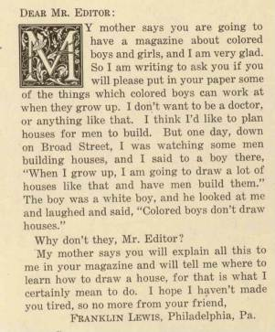 Letter to editor, The Brownies' Book, January 1920.