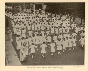 Children marching in Silent Parade, 1917, The Brownies' Book.