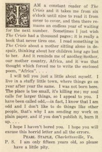 Letter to the editor, The Brownies' Book, 1920