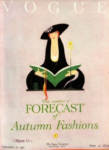 Vogue cover, September 15, 1917, woman with purse.