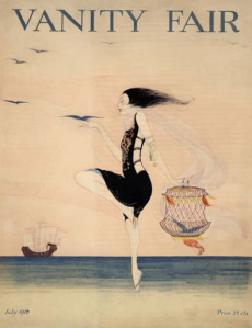 Rita Senger Vanity Fair cover, July 1916, woman dancing on beach.