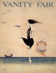 Rita Senger Vanity Fair cover, July 1916, woman dancing on beach.