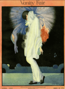 Rita Senger Vanity Fair cover, April 1918, Pierrot holding unconscious woman.