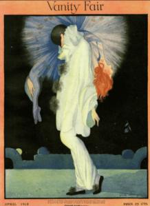 Rita Senger Vanity Fair cover, April 1918, Pierrot holding unconscious woman.