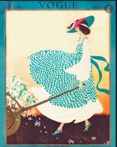 Rita Senger cover, Vogue, June 15, 1916, woman walking dog.