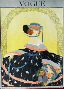 Rita Senger cover, Vogue, June 15, 191, woman in hoop skirt.
